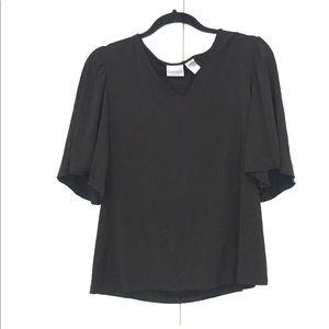 Chico's Black Short Sleeve Blouse Top Sz 1